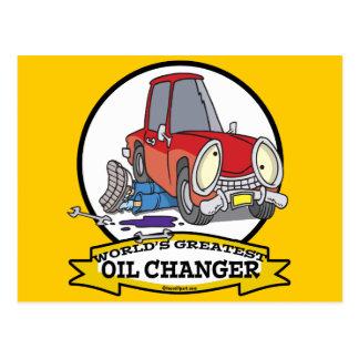 WORLDS GREATEST OIL CHANGER MEN CARTOON POSTCARD