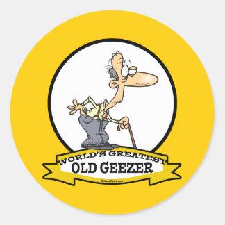 WORLDS GREATEST OLD GEEZER CARTOON CLASSIC ROUND STICKER