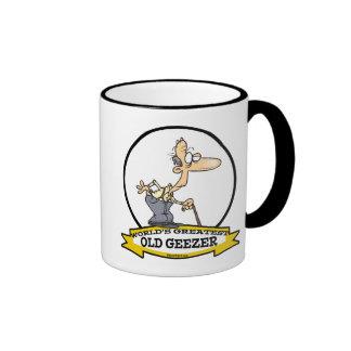 WORLDS GREATEST OLD GEEZER CARTOON RINGER COFFEE MUG
