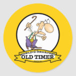 WORLDS GREATEST OLD TIMER CARTOON ROUND STICKER