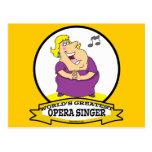 WORLDS GREATEST OPERA SINGER FAT LADY CARTOON POSTCARD