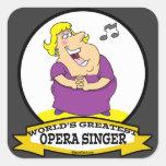 WORLDS GREATEST OPERA SINGER FAT LADY CARTOON SQUARE STICKER