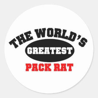 World's greatest Pack Rat. Classic Round Sticker