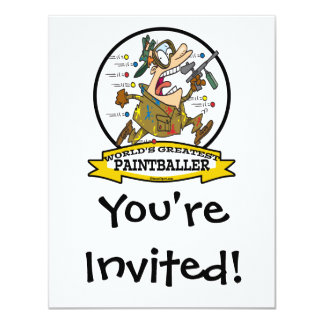 WORLDS GREATEST PAINTBALLER MEN CARTOON 4.25X5.5 PAPER INVITATION CARD
