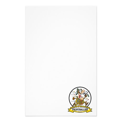 WORLDS GREATEST PAINTBALLER MEN CARTOON PERSONALIZED STATIONERY