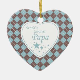 World's Greatest papa argyle heart ornament