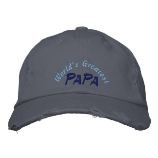 World's Greatest Papa Distressed Cap Embroidered Baseball Caps