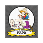 WORLDS GREATEST PAPA MEN CARTOON GALLERY WRAPPED CANVAS