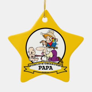 WORLDS GREATEST PAPA MEN CARTOON CERAMIC ORNAMENT