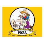 WORLDS GREATEST PAPA MEN CARTOON POSTCARD