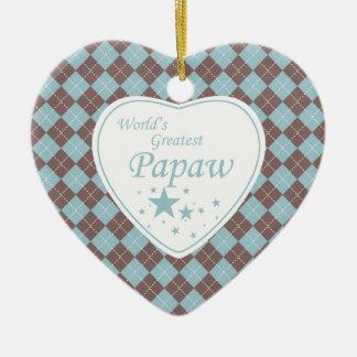 World's Greatest papaw argyle heart ornament