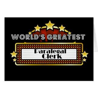World's Greatest Paralegal Clerk Card