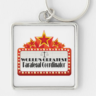 World's Greatest Paralegal Coordinator Silver-Colored Square Keychain