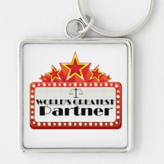 World's Greatest Partner Silver-Colored Square Keychain