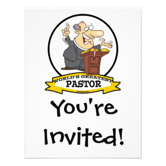 WORLDS GREATEST PASTOR MEN CARTOON PERSONALIZED INVITATIONS
