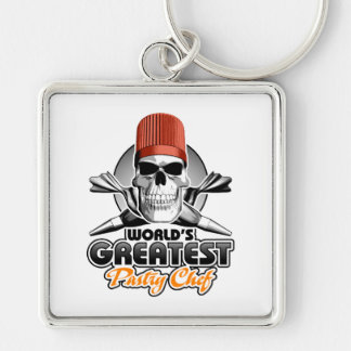 World's Greatest Pastry Chef v1 Silver-Colored Square Keychain