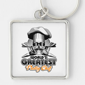 World's Greatest Pastry Chef v4 Silver-Colored Square Keychain