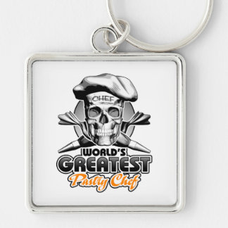 World's Greatest Pastry Chef v5 Silver-Colored Square Keychain