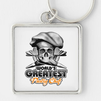 World's Greatest Pastry Chef v6 Silver-Colored Square Keychain