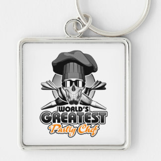 World's Greatest Pastry Chef v7 Silver-Colored Square Keychain