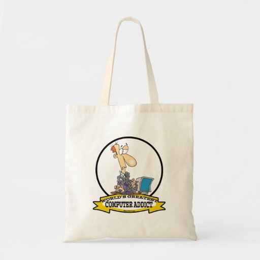 WORLDS GREATEST PC COMPUTER ADDICT CARTOON BUDGET TOTE BAG