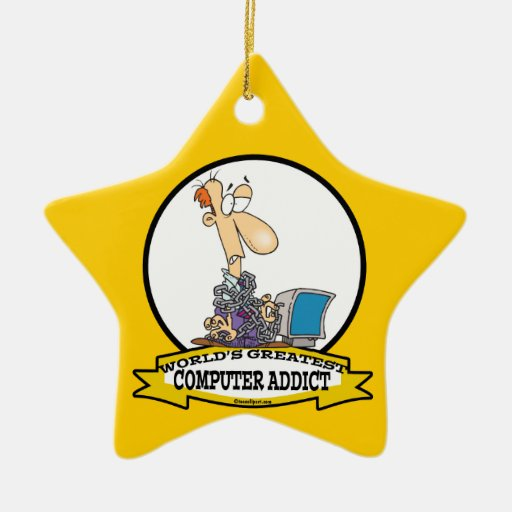 WORLDS GREATEST PC COMPUTER ADDICT CARTOON Double-Sided STAR CERAMIC CHRISTMAS ORNAMENT