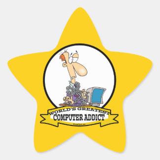 WORLDS GREATEST PC COMPUTER ADDICT CARTOON STAR STICKER