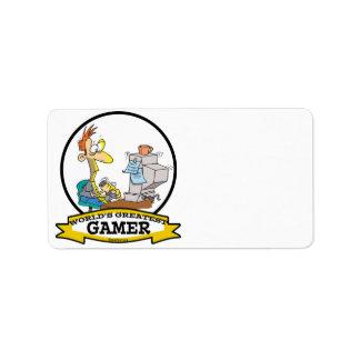 WORLDS GREATEST PC GAMER TEEN CARTOON ADDRESS LABEL