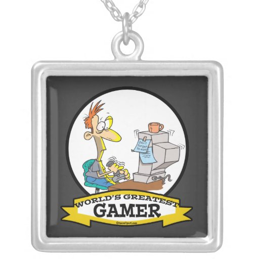 WORLDS GREATEST PC GAMER TEEN CARTOON SQUARE PENDANT NECKLACE