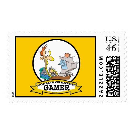WORLDS GREATEST PC GAMER TEEN CARTOON STAMP
