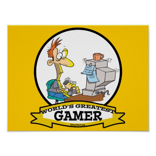 WORLDS GREATEST PC GAMER TEEN CARTOON PRINT
