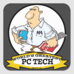 WORLDS GREATEST PC TECH MEN CARTOON SQUARE STICKERS
