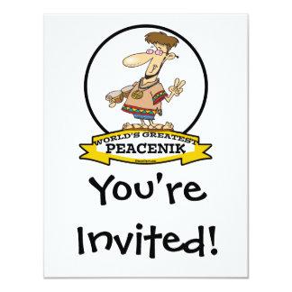 WORLDS GREATEST PEACENIK CARTOON 4.25X5.5 PAPER INVITATION CARD