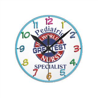 WORLDS GREATEST  PEDIATRIC NURSE SPECIALIST ROUND CLOCK