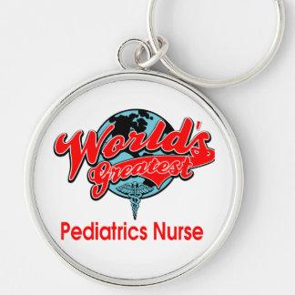 World's Greatest Pediatrics Nurse Silver-Colored Round Keychain