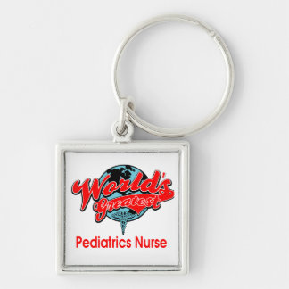 World's Greatest Pediatrics Nurse Silver-Colored Square Keychain