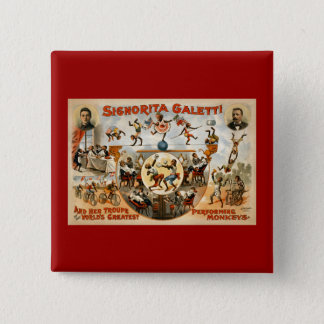 World's Greatest Performing Monkeys 1892 Button