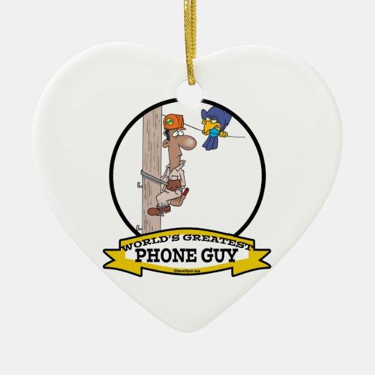 WORLDS GREATEST PHONE GUY MEN CARTOON CERAMIC ORNAMENT