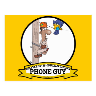 WORLDS GREATEST PHONE GUY MEN CARTOON POSTCARD