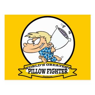 WORLDS GREATEST PILLOW FIGHTER KIDS CARTOON POSTCARD