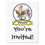 WORLDS GREATEST PILOT II MEN CARTOON 4.25X5.5 PAPER INVITATION CARD