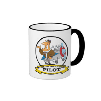 WORLDS GREATEST PILOT II MEN CARTOON COFFEE MUG