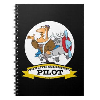 WORLDS GREATEST PILOT II MEN CARTOON SPIRAL NOTEBOOK