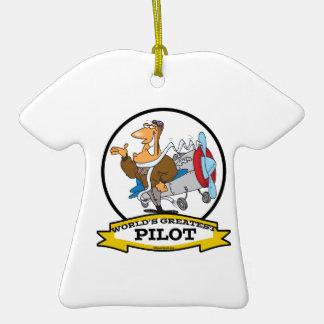 WORLDS GREATEST PILOT II MEN CARTOON CHRISTMAS ORNAMENTS