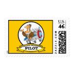 WORLDS GREATEST PILOT II MEN CARTOON POSTAGE STAMP