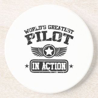 World's Greatest Pilot In Action Drink Coaster