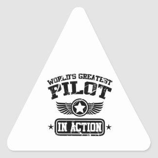 World's Greatest Pilot In Action Triangle Sticker