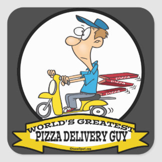WORLDS GREATEST PIZZA DELIVERY GUY CARTOON SQUARE STICKER