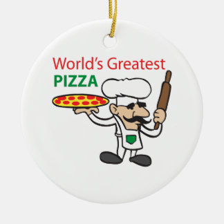 WORLDS GREATEST PIZZA Double-Sided CERAMIC ROUND CHRISTMAS ORNAMENT