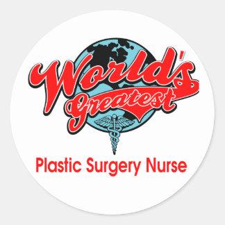 World's Greatest Plastic Surgery Nurse Classic Round Sticker